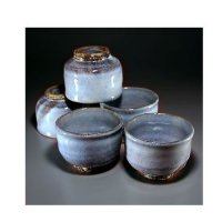 Hagi ware Senryuzan climbing kiln Japanese yunomi tea cups blue glaze set of 5