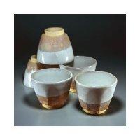 Hagi ware Senryuzan climbing kiln Japanese yunomi tea cups kumi nuri set of 5