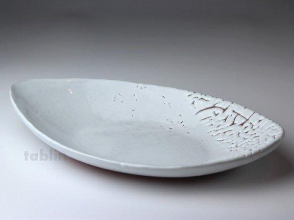 Photo1: Hagi ware Japanese Serving plate White glaze Oval W300mm