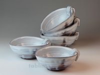 Hagi ware Japanese bowls White glaze W155mm set of 5