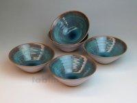 Hagi ware Japanese bowls Sea breeze W115mm set of 5