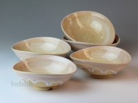 Hagi ware Japanese bowls Shizuku Dew W130mm set of 5