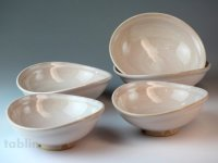 Hagi ware Japanese bowls Elegance W130mm set of 5