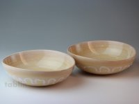 Hagi ware Japanese bowls Shizuku Dew W170mm set of 2