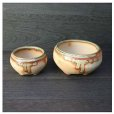 Photo1: Shigaraki Japanese bonsai plant garden tree pottery pot bidoro fuka set of 2 (1)