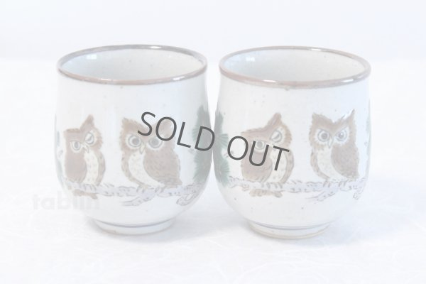 Photo1: Kutani yaki ware Yunomi owl top brown m3 Japanese tea cup (set of 2)