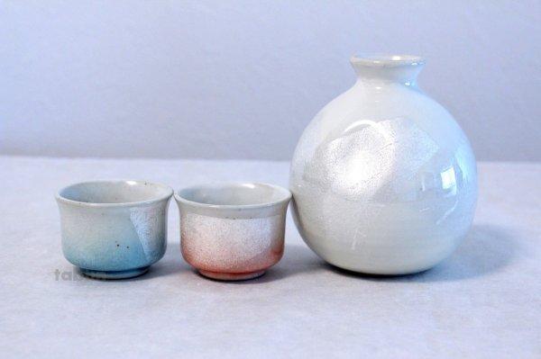 Photo1: Kutani Porcelain Japanese Sake cup & Sake bottle set Ginsai soroe