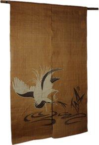 Noren Mitsuru Japanese linen door curtain Kakishibu sagi egret 88 x 150cm