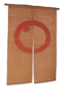 Noren Mitsuru Japanese linen door curtain Kakishibu enso ben 88 x 150cm
