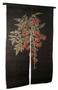 Noren Mitsuru Japanese linen door curtain Kakishibu nandina 88 x 150cm