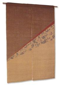 Noren Mitsuru Japanese linen door curtain Kakishibu flower tira flow 88 x 150cm