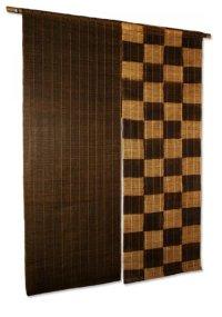 Noren Mitsuru Japanese linen door curtain Kakishibu ichimatsu 88 x 150cm