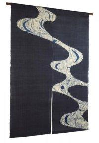 Noren Mitsuru Japanese linen door curtain kusakizome river 88 x 150cm