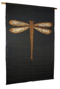 Noren Mitsuru Japanese linen door curtain Kakishibu dragonfly 88 x 150cm