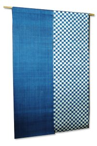 Noren Mitsuru Japanese linen door curtain kusakizome itimatsu blue re 88 x 150cm