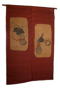 Noren Mitsuru Japanese linen door curtain Bengarazome hyotan gourd 88 x 150cm