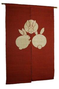 Noren Mitsuru Japanese linen door curtain Bengarazome rabbit aka 88 x 150cm