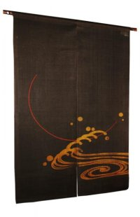 Noren Mitsuru Japanese linen door curtain Kakishibu full flood moon 88 x 150cm