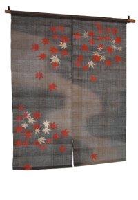 Noren Mitsuru Japanese linen door curtain Kakishibu tetsu maple kon 88 x 120cm