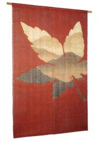 Noren Mitsuru Japanese linen door curtain Bengarazome maple mountain 88 x 150cm