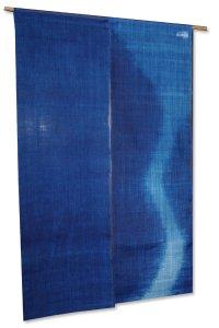 Noren Mitsuru Japanese linen door curtain kusakizome water flow 88 x 150cm