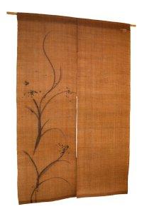 Noren Mitsuru Japanese linen door curtain Kakishibu fude asobi 88 x 150cm