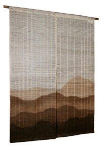 Noren Mitsuru Japanese linen door curtain Kakishibu renzan mountain 88 x 150cm
