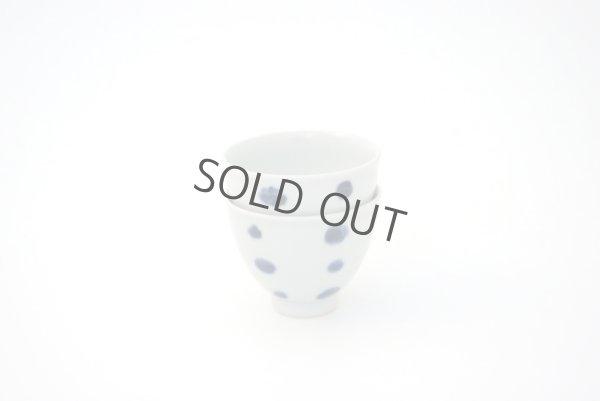 Photo5: Arita porcelain Japanese sake bottle & cups set plum follower blue dot tamori