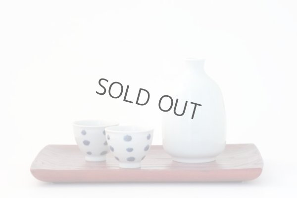 Photo1: Arita porcelain Japanese sake bottle & cups set plum follower blue dot tamori