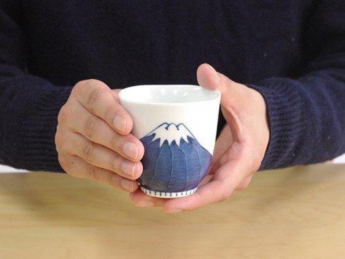 Other Images2: Arita porcelain Japanese tea cups Mt. Fuji red blue yunomi Tokushiti kiln