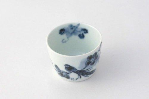 Other Images1: Arita porcelain Japanese sake bottle & cups set bird grape Riso kiln 210ml