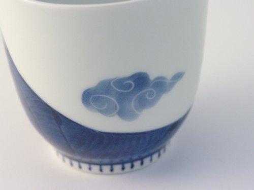 Other Images1: Arita porcelain Japanese tea cups Mt. Fuji red blue yunomi Tokushiti kiln