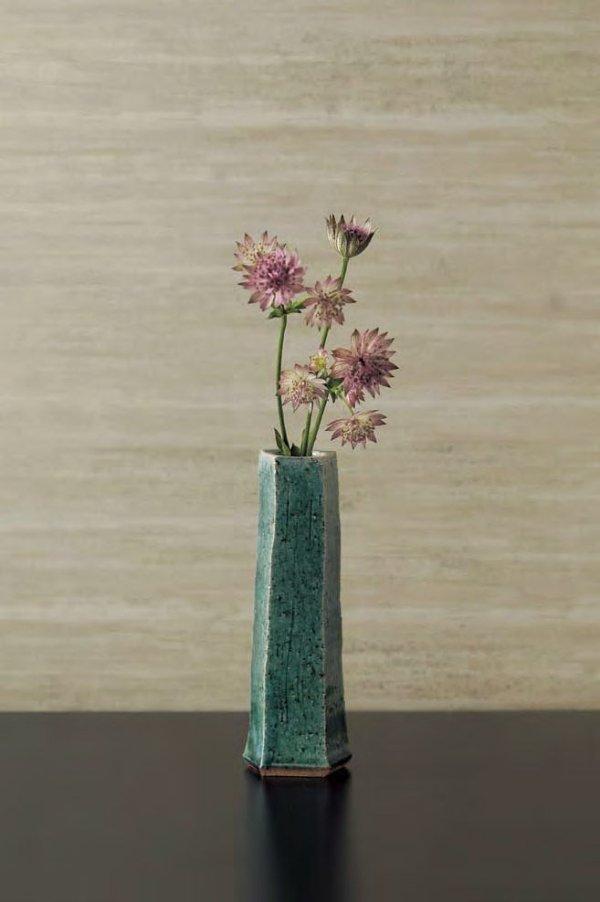 Photo1: Tokoname yaki ware turquoise blue glaze Japanese vase H18cm