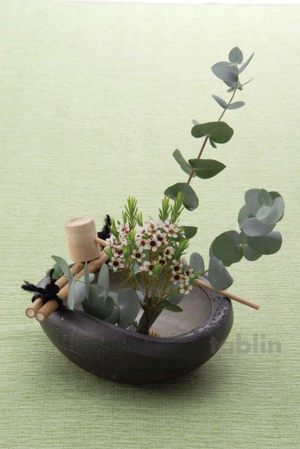 Photo2: Shigaraki pottery Japanese vase flower arrangement Ikebana tsukubai kamon H7cm