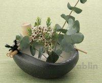 Shigaraki pottery Japanese vase flower arrangement Ikebana tsukubai kamon H7cm