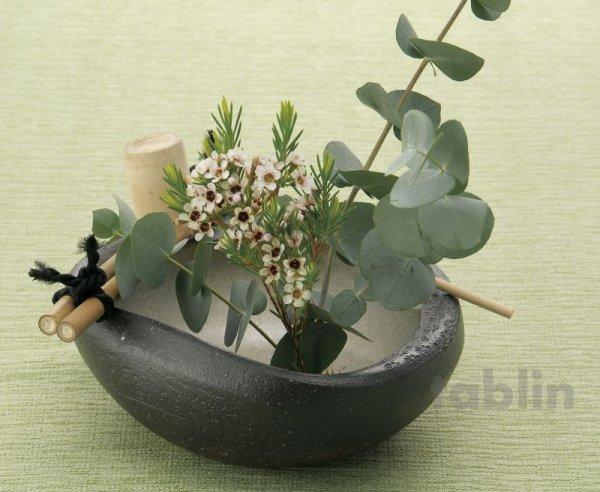 Photo1: Shigaraki pottery Japanese vase flower arrangement Ikebana tsukubai kamon H7cm