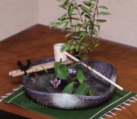 Shigaraki pottery Japanese vase flower arrangement Ikebana tsukubai kamahen H5cm