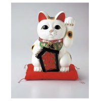 Japanese Lucky Cat Tokoname yaki ware Porcelain Maneki Neko O cushion 10.2 inch