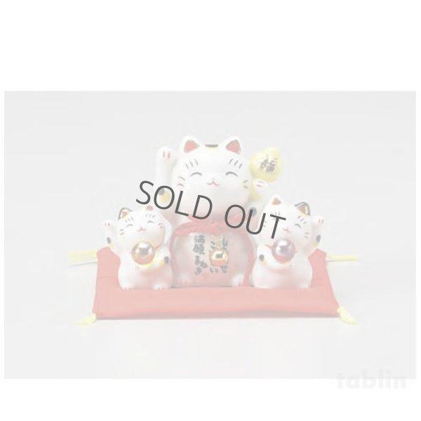 Photo1: Japanese Lucky Cat Tokoname yaki ware Porcelain Maneki Neko Saiemangan 3.1inch