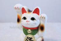 Japanese Lucky Cat Tokoname ware YT Porcelain Maneki Neko both hand white H16cm