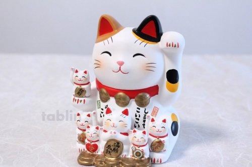 Other Images2: Japanese Lucky Cat Tokoname yaki ware Porcelain Maneki Neko Nishikisai 5.3inch
