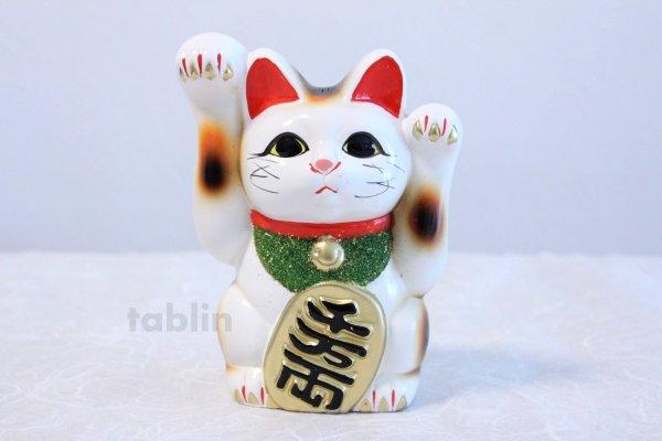 Photo2: Japanese Lucky Cat Tokoname ware YT Porcelain Maneki Neko both hand white H16cm