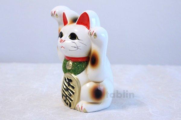 Photo3: Japanese Lucky Cat Tokoname ware YT Porcelain Maneki Neko both hand white H16cm