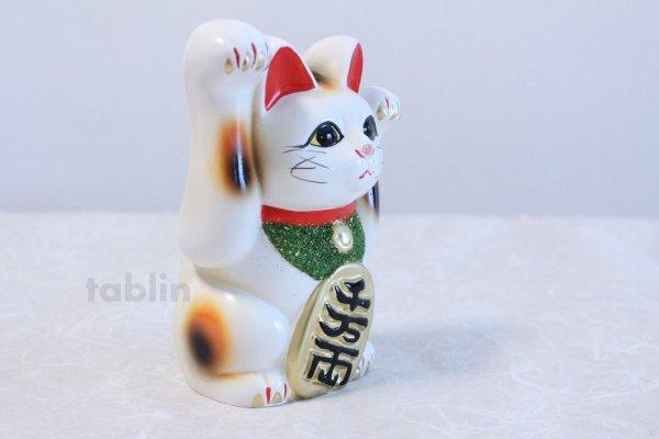 Photo5: Japanese Lucky Cat Tokoname ware YT Porcelain Maneki Neko both hand white H16cm