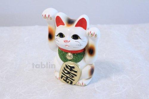 Other Images2: Japanese Lucky Cat Tokoname ware YT Porcelain Maneki Neko both hand white H16cm