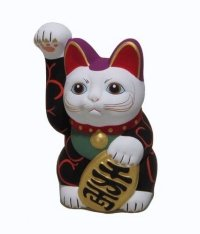 Japanese Lucky Cat Seto ware Porcelain Maneki Neko Karakusa Black H13.5cm