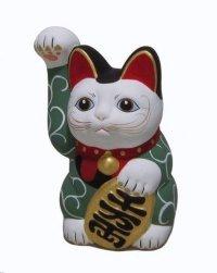Japanese Lucky Cat Seto ware Porcelain Maneki Neko Karakusa Green H13.5cm