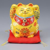 Japanese Lucky Cat Kutani Porcelain Maneki Neko fu yellow mori H15cm