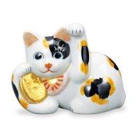 Japanese Lucky Cat Kutani yaki ware Porcelain Maneki Neko Mike yokone H 8.5cm
