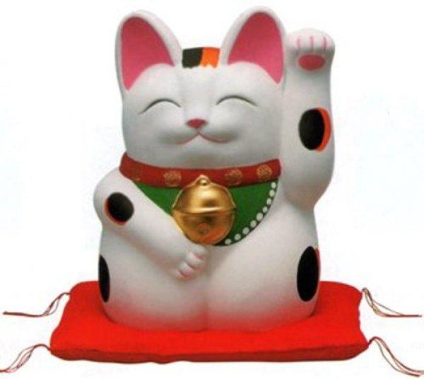 Photo5: Japanese Lucky Cat Tokoname YT Porcelain Maneki Neko Mansuke left hand H21cm